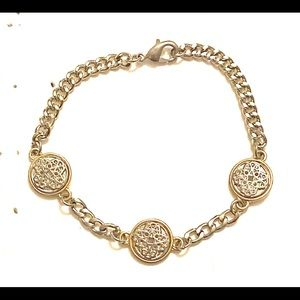 Silver gold mixed metal bracelet